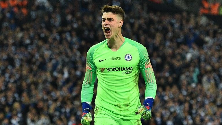 Chelsea's Spanish goalkeeper Kepa Arrizabalaga reacts after saving the penalty of Manchester City's German midfielder Leroy Sane in the penalty shootout at the end of the English League Cup final football match between Manchester City and Chelsea at Wembley stadium in north London on February 24, 2019. (Photo by Glyn KIRK / AFP) / RESTRICTED TO EDITORIAL USE. No use with unauthorized audio, video, data, fixture lists, club/league logos or 'live' services. Online in-match use limited to 75 images, no video emulation. No use in betting, games or single club/league/player publications. /