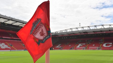 A corner flag displaying Liverpool's club crest is pictured in the sunshine ahead of the English Premier League football match between Liverpool and Arsenal at Anfield in Liverpool, north west England on August 27, 2017. (Photo by Anthony DEVLIN / AFP) / RESTRICTED TO EDITORIAL USE. No use with unauthorized audio, video, data, fixture lists, club/league logos or 'live' services. Online in-match use limited to 75 images, no video emulation. No use in betting, games or single club/league/player publications. /