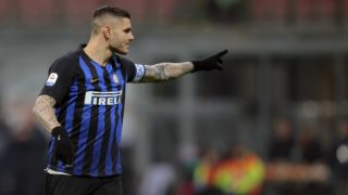 Mauro Icardi #9 of FC Internazionale Milano during the serie A match between FC Internazionale and Bologna FC at Stadio Giuseppe Meazza on February 3, 2019 in Milan, Italy. (Photo by Giuseppe Cottini/NurPhoto)
