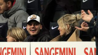 MILAN, ITALY - FEBRUARY 17: Mauro Icardi #9 of FC Internazionale Milano and his wife Wanda Nara during the serie A match between FC Internazionale and UC Sampdoria at Stadio Giuseppe Meazza on February 17, 2019 in Milan, Italy. (Photo by Giuseppe Cottini/NurPhoto)