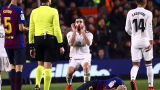 CARVAJAL (C) reacts  during semifinal of spanish King Cup frist leg match between FC Barcelona and Real Madrid at  Nou Camp Stadium on February  6, 2019. (Photo by Jose Miguel Fernandez/NurPhoto)