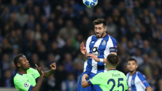Porto's Mexican midfielder Hector Herrera (C) in action with Amine Harit midfielder of FC Schalke 04 (R) and Hamza Mendyl defender of FC Schalke 04 (L) during the UEFA Champions League, match between FC Porto and FC Schalke 04, at Dragao Stadium in Porto on November 28, 2018 in Porto, Portugal. (Photo by Paulo Oliveira / DPI / NurPhoto)
