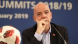 ISTANBUL, TURKEY - FEBRUARY 15: FIFA President Gianni Infantino makes a speech during a press conference following the FIFA Executive Football Summits in Istanbul, Turkey on February 15, 2019. Isa Terli / Anadolu Agency