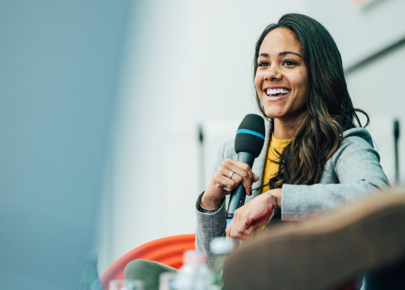 PARIS, FRANCE - OCTOBER 18: (EDITORS NOTE: Image has been digitally enhanced.) Alex Scott attends a panel discussion during the Laureus Sport for Good Global Summit in partnership with Allianz at INSEP on October 18, 2018 in Paris, France. (Photo by Simon Hofmann/Getty Images for Laureus)