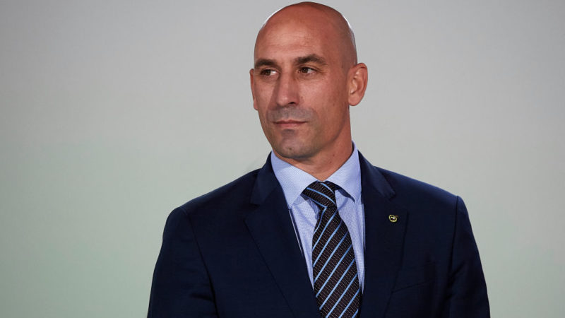 LAS PALMAS DE GRAN CANARIA, SPAIN - NOVEMBER 18:  Spanish Football Federation (RFEF) president Luis Rubiales looks on prior to the international friendly match between Spain and Bosnia & Herzegovina at Estadio de Gran Canaria on November 18, 2018 in Las Palmas de Gran Canaria, Spain.  (Photo by Quality Sport Images/Getty Images)