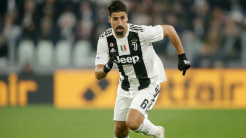 TURIN, ITALY - FEBRUARY 15: Sami Khedira of Juventus  during the Italian Serie A   match between Juventus v Frosinone at the Allianz Stadium on February 15, 2019 in Turin Italy (Photo by Peter Lous/Soccrates/Getty Images)