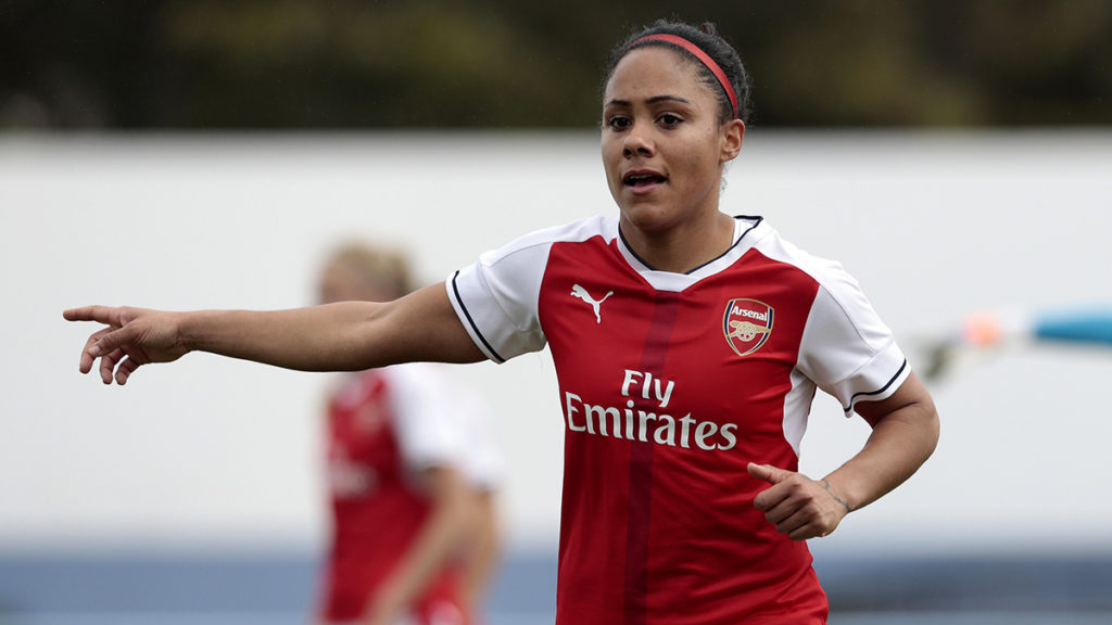 VILA REAL SANTO ANTÓNIO, PORTUGAL - FEBRUARY 04: Alex Scott of Arsenal during the Women's Friendly Match between VfL Wolfsburg Women's and Arsenal FC Women on February 4, 2017 in Vila Real Santo António, Portugal. (Photo by Filipe Farinha/Getty Images For VfL Wolfsburg)