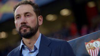 Sevilla's Spanish coach Pablo Machin attends the Europa League round of 16 first leg football match between Sevilla FC and Slavia Prague at the Ramon Sanchez-Pizjuan Stadium in Sevilla on March 7, 2019. (Photo by JORGE GUERRERO / AFP)