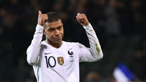 France's forward Kylian Mbappe reacts at the end of the Euro 2020 qualifying football match between Moldova and France, on March 22, 2019 at Zimbru stadium in Chisinau. (Photo by FRANCK FIFE / AFP)