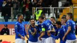 Italy's defender Leonardo Spinazzola (L), Italy's forward Matteo Politano (2ndL), Italy's midfielder Marco Verratti (2ndR), Italy's defender Gianluca Mancini (R) and teammates celebrate after Italy scored a penalty during the Euro 2020 Group J qualifying football match Italy vs Liechtenstein on March 26, 2019 at the Ennio-Tardini stadium in Parma. (Photo by Miguel MEDINA / AFP)