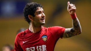 Brazilian football player Alexandre Rodrigues da Silva, known as Pato, of Tianjin Quanjian, celebrates after scoring a goal against Guangzhou R&F in their 27th round match during the 2018 Chinese Football Association Super League (CSL) in Guangzhou city, soith China's Guangdong province, 27 October 2018.