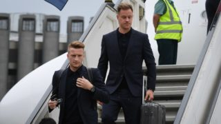 left to right Marco Reus (Germany), goalkeeper Marc-Andre ter Stegen (Germany). GES / Football / World Cup 2018 Russia: Arrival of the German national team in Russia, Moscow, 12.06.2018 GES / Soccer / Football / Worldcup 2018 Russia: Landing of the german national team in Russia, Moscow, June 12, 2018 | usage worldwide