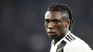 Juventus forward Moise Kean (18) during the Serie A football match n.27 JUVENTUS - UDINESE on 08/03/2019 at the Allianz Stadium in Turin, Italy. (Photo by Matteo Bottanelli/NurPhoto)