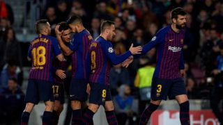 Coutinho of Barcelona celebrates after scoring his sides first goal whit Luis Suarez ,Arthur Melo, Gerard Pique and Jordi Alba during the UEFA Champions League Round of 16 Second Leg match between FC Barcelona and Olympique Lyonnais at Nou Camp on March 13, 2019 in Barcelona, Spain. (Photo by Jose Breton/NurPhoto)