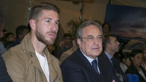 Player of Real Madrid, Sergio Ramos, and Real Madrid's president Florentino Perez, during the Liga Endesa Basket 2015/16 match between Real Madrid and FC Barcelona, at Palacio de los Deportes in Madrid on December 27, 2015.  (Photo by Oscar Gonzalez/NurPhoto)