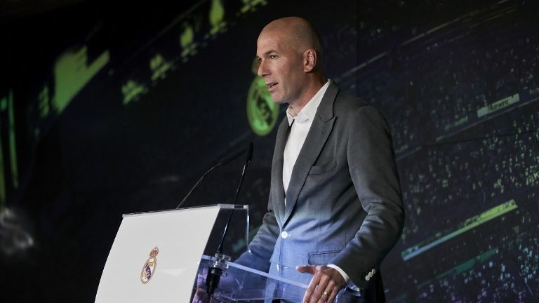 Zinedine Zidane during the press conference of the official presentation of Zinedine Zidane as new Manager of Real Madrid at Santiago Bernabeu Stadium in Madrid, Spain. March 11, 2019. (Photo by A. Ware/NurPhoto)