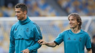 Real Madrid's Cristiano Ronaldo (L) and Luka Modric (R) attend a training session at the Olimpiyskiy Stadium in Kiev, Ukraine, 25 May 2018.The 2018 UEFA Champions League Cup final football match between Real Madrid and Liverpool FC will held on May 26 at the Olimpiyskiy Stadium. (Photo by Ahmad Mora/NurPhoto)