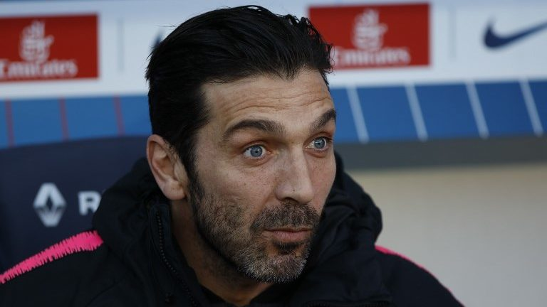Gianluigi Buffon during the French L1 football match between Paris Saint-Germain and Nimes at the Parc de Princes in Paris on 23 February 2019.(Photo by Mehdi Taamallah/NurPhoto)