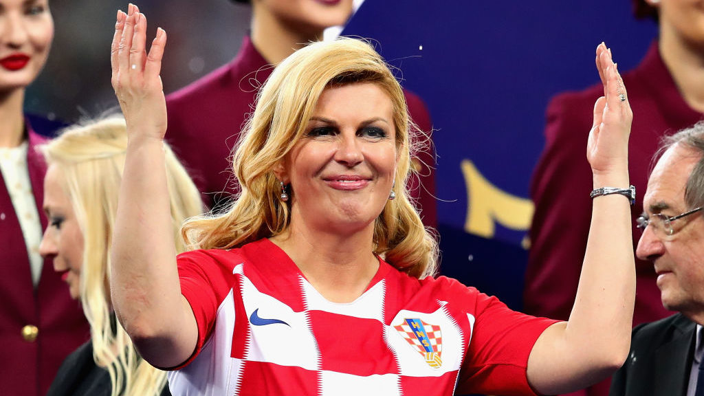 MOSCOW, RUSSIA - JULY 15: Kolinda Grabar-Kitarovic, President of Croatia stands on the trophy presentation stage after the 2018 FIFA World Cup Russia Final between France and Croatia at Luzhniki Stadium on July 15, 2018 in Moscow, Russia.  (Photo by Chris Brunskill/Fantasista/Getty Images)