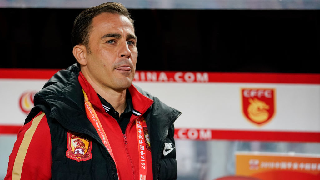 LANGFANG, CHINA - OCTOBER 06:  Guangzhou Evergrande Head Coach Fabio Cannavaro reacts during the 2018 Chinese Super League match between Hebei China Fortune v Guangzhou Evergrande Taobao at Langfang Sports Center on October 6, 2018 in Langfang, China. (Photo by Fred Lee/Getty Images)