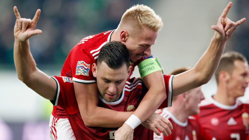 BUDAPEST, HUNGARY - NOVEMBER 18: (l-r) Adam Szalai of Hungary celebrates his goal with Balazs Dzsudzsak of Hungary during the UEFA Nations League group stage match between Hungary and Finland at Groupama Arena on November 18, 2018 in Budapest, Hungary. (Photo by Laszlo Szirtesi/Getty Images)