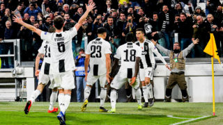 Cristiano Ronaldo (Juventus FC) celebrates after scoring his third goal during the UEFA Champions League round of 16 second leg match between Club Atletico de Madrid and Juventus FC at Allianz Stadium on March 12, 2019 in Turin, Italy. Juventus won 3-0. (Photo by Massimiliano Ferraro/NurPhoto via Getty Images)
