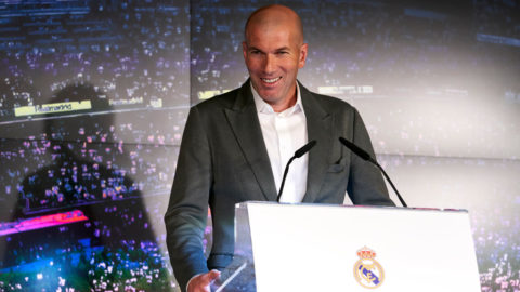 MADRID, SPAIN - MARCH 11: Zinedine Zidane, addresses the media after being announced as new Real Madrid head coach at Estadio Santiago Bernabeu on March 11, 2019 in Madrid, Spain. (Photo by Quality Sport Images/Getty Images)