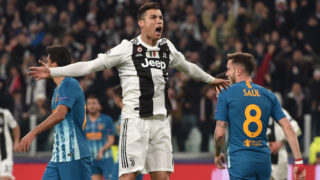 TURIN, ITALY - MARCH 12: Cristiano Ronaldo of Juventus celebrates after scoring the opening goal during the UEFA Champions League Round of 16 Second Leg match between Juventus and Club de Atletico Madrid at Allianz Stadium on March 12, 2019 in Turin, Italy. (Photo by Tullio M. Puglia/Getty Images)