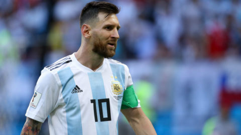 KAZAN, RUSSIA - JUNE 30: Lionel Messi of Argentina during the 2018 FIFA World Cup Russia Round of 16 match between France and Argentina at Kazan Arena on June 30, 2018 in Kazan, Russia. (Photo by Jean Catuffe/Getty Images)