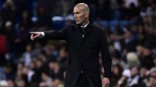 Real Madrid's French coach Zinedine Zidane reacts during the Spanish League football match between Real Madrid CF and SD Huesca at the Santiago Bernabeu stadium in Madrid on March 31, 2019. (Photo by JAVIER SORIANO / AFP)