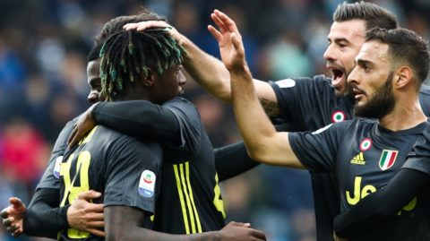 Juventus' Italian forward Moise Kean (L) celebrates with teammates after opening the scoring during the Italian Serie A football match SPAL 2013 vs Juventus on April 13, 2019 at the Paolo-Mazza stadium in Ferrara. (Photo by Isabella BONOTTO / AFP)