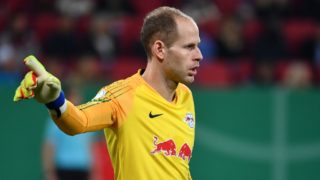 Goalkeeper Peter GULACSI (L), gesture, gives instructions, action, single image, single cut motive, half figure, half figure. Soccer DFB Pokal Quarterfinals, FC Augsburg (A) -RB Leipzig (L) 1-2 n / a on 02.04.2019 in Augsburg / Germany, WWK AREN A. | usage worldwide
