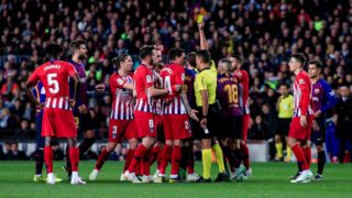 Atletico de Madrid players arguing with the referee Gil Manzano after show red card to Diego Costa of Atletico de Madrid during the of La Liga match between FC Barcelona and Atletico de Madrid in Camp Nou Stadium in Barcelona 06 of Abril of 2019, Spain. (Photo by Xavier Bonilla/NurPhoto)