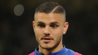 Mauro Icardi #9 of FC Internazionale Milano before the serie A match between FC Internazionale and AS Roma at Stadio Giuseppe Meazza on April 20, 2019 in Milan, Italy. (Photo by Giuseppe Cottini/NurPhoto)