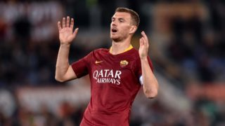 Edin Dzeko of AS Roma looks dejected during the Serie A match between AS Roma and ACF Fiorentina at Stadio Olimpico, Rome, Italy on 3 April 2019.  (Photo by Giuseppe Maffia/NurPhoto)