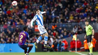 Real Sociedad forward Ander Barrenetxea (34) and FC Barcelona defender Nelson Semedo (2) during the match FC Barcelona against Real Sociedad, for the round 33 of La Liga played at Camp Nou  on 20th April 2019 in Barcelona, Spain. (Credit: Mikel Trigueros/Urbanandsport / NurPhoto) -- (Photo by Urbanandsport/NurPhoto)