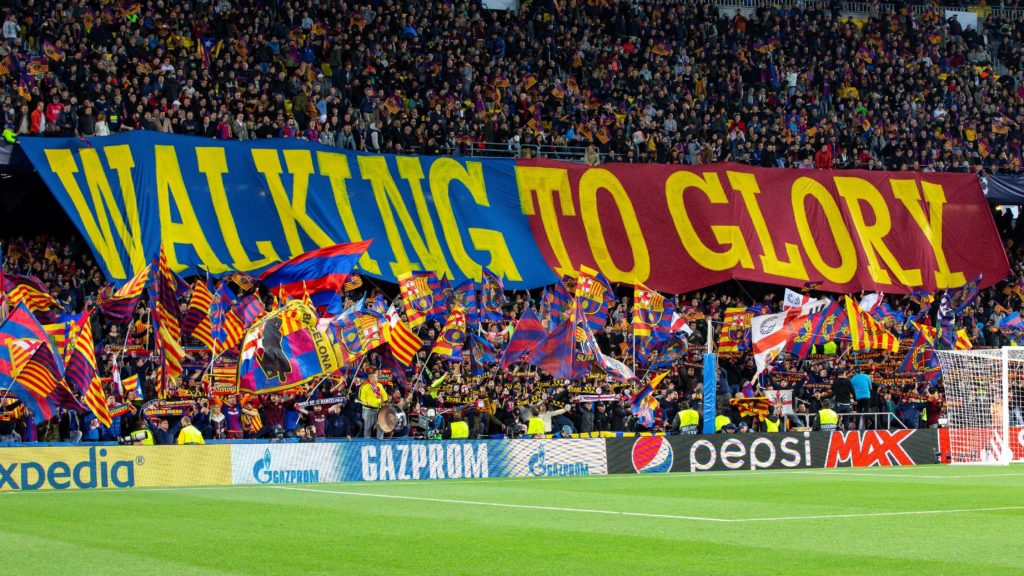 FC Barcelona fans  during the UEFA Champions League match between FC Barcelona and Manchester United FC at Camp Nou Stadium on April 16, 2019 in Barcelona, Spain. (Photo by Mikel Trigueros/ Urbanandsport/ NurPhoto)
