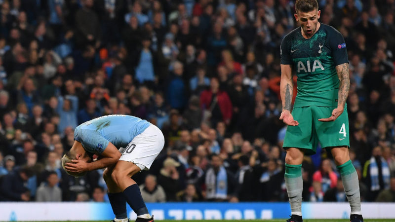 Manchester City's Argentinian striker Sergio Aguero (L) reacts to a missed chance as Tottenham Hotspur's Belgian defender Toby Alderweireld looks on during the UEFA Champions League quarter final second leg football match between Manchester City and Tottenham Hotspur at the Etihad Stadium in Manchester, north west England on April 17, 2019. (Photo by Ben STANSALL / AFP)