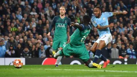 Manchester City's English midfielder Raheem Sterling (R) scores his team's fifth goal but has the goal dissallowed during the UEFA Champions League quarter final second leg football match between Manchester City and Tottenham Hotspur at the Etihad Stadium in Manchester, north west England on April 17, 2019. (Photo by Ben STANSALL / AFP)