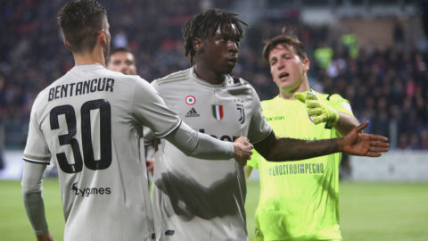 CAGLIARI, ITALY - APRIL 02:  Moise Kean of Juventus celebrates his goal 0-2 during the Serie A match between Cagliari and Juventus at Sardegna Arena on April 2, 2019 in Cagliari, Italy.  (Photo by Enrico Locci/Getty Images)
