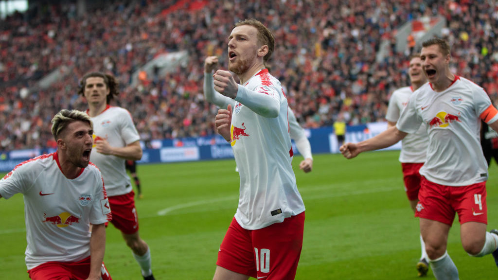 LEVERKUSEN, GERMANY - APRIL 06: Emil Forsberg of RB Leipzig celebrates during the Bundesliga match between Bayer 04 Leverkusen and RB Leipzig at BayArena on April 06, 2019 in Leverkusen, Germany. (Photo by TF-Images/Getty Images)