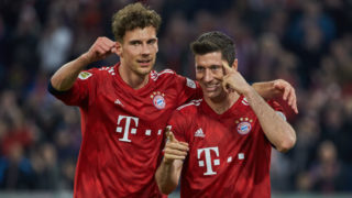 MUNICH, GERMANY - APRIL 06: Leon Goretzka of FC Bayern Muenchen and Robert Lewandowski of FC Bayern Muenchen celebrate during the Bundesliga match between FC Bayern Muenchen and Borussia Dortmund at Allianz Arena on April 06, 2019 in Munich, Germany. (Photo by TF-Images/Getty Images)