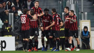 TURIN, ITALY - APRIL 06: Krzysztof Piatek of AC Milan celebrates goal with teammates during the Serie A match between Juventus and AC Milan at the Allianz Stadium on April 6, 2019 in Turin, Italy. (Photo by Chris Ricco/Getty Images)