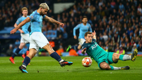 MANCHESTER, ENGLAND - APRIL 17:  Sergio Aguero of Manchester City scores a goal to make it 4-2 during the UEFA Champions League Quarter Final second leg match between Manchester City and Tottenham Hotspur at at Etihad Stadium on April 17, 2019 in Manchester, England. (Photo by Robbie Jay Barratt - AMA/Getty Images)