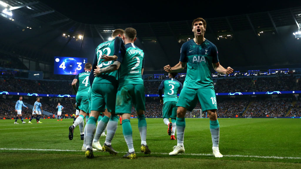 MANCHESTER, ENGLAND - APRIL 17: Fernando Llorente of Tottenham Hotspur celebrates scoring his teams third goal during the UEFA Champions League Quarter Final second leg match between Manchester City and Tottenham Hotspur at Etihad Campus on April 17, 2019 in Manchester, England. (Photo by Chloe Knott - Danehouse/Getty Images)