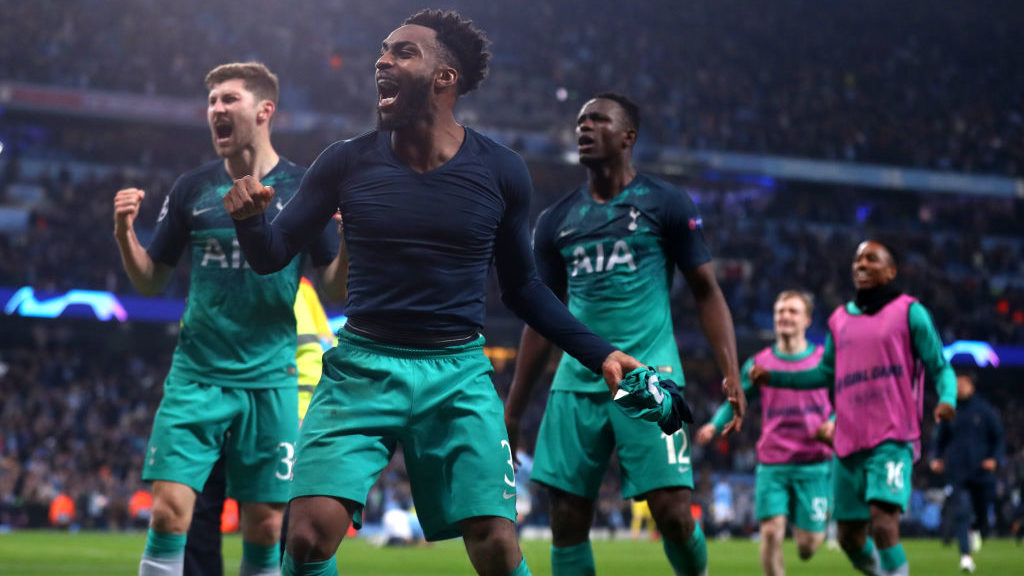 MANCHESTER, ENGLAND - APRIL 17: Danny Rose, Eric Dire and Victor Wanyama of Tottenham Hotspur celebrate winning the UEFA Champions League Quarter Final second leg match between Manchester City and Tottenham Hotspur at Etihad Campus on April 17, 2019 in Manchester, England. (Photo by Chloe Knott - Danehouse/Getty Images)