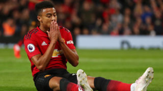 MANCHESTER, ENGLAND - APRIL 24:  Jesse Lingard of Manchester United reacts during the Premier League match between Manchester United and Manchester City at Old Trafford on April 24, 2019 in Manchester, United Kingdom. (Photo by Catherine Ivill/Getty Images)