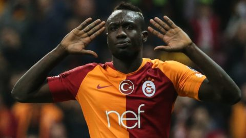ISTANBUL, TURKEY - APRIL 6: Mbaye Diagne of Galatasaray celebrates after scoring a goal during the Turkish Super Lig soccer match between Galatasaray and Evkur Yeni Malatyaspor at Turk Telekom Stadium in Istanbul, Turkey on April 6, 2019. Sebnem Coskun / Anadolu Agency