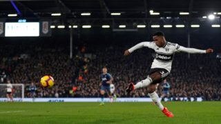 Fulham's English defender Ryan Sessegnon crosses the ball during the English Premier League football match between Fulham and Tottenham Hotspur at Craven Cottage in London on January 20, 2019. (Photo by Adrian DENNIS / AFP) / RESTRICTED TO EDITORIAL USE. No use with unauthorized audio, video, data, fixture lists, club/league logos or 'live' services. Online in-match use limited to 120 images. An additional 40 images may be used in extra time. No video emulation. Social media in-match use limited to 120 images. An additional 40 images may be used in extra time. No use in betting publications, games or single club/league/player publications. /
