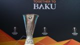 The Europa League trophy is displayed ahead of the competition's quarter-finals draw, on March 15, 2019 in Nyon. (Photo by Fabrice COFFRINI / AFP)